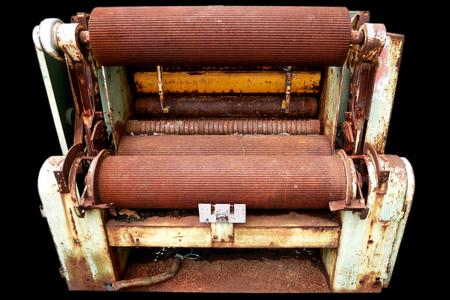 Rusty machine on Black background Stock Photo