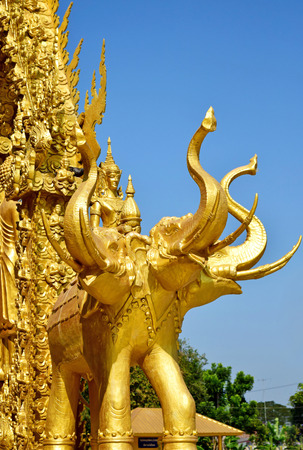 cast in place: The architecture golden elephant statue of Thailand