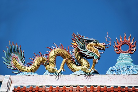 Colorful Of Dragon Statue with Blue sky photo