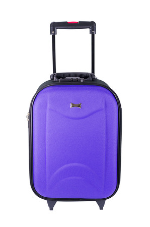 Violet travel luggage isolated