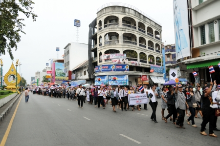 disagreed: SONGKHLA, THAILAND- November  05  Students and citizens march  Disagreed with the government