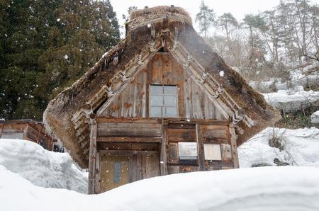 shirakawa go: Historic Japanese village Shirakawago at winter, travel landmark of Japan Stock Photo