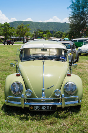 vw: SONGKHLA, THAILAND - May 01 : Vintage Volkswagen car Meeting in VW SONGKHLA AIRCOOLED GATHERING SEASON 3 at Samila beach on May 01,2015 in Songkhla, Thailand.