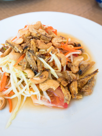 somtum: Spicy green papaya salad, Thai cuisine,somtum
