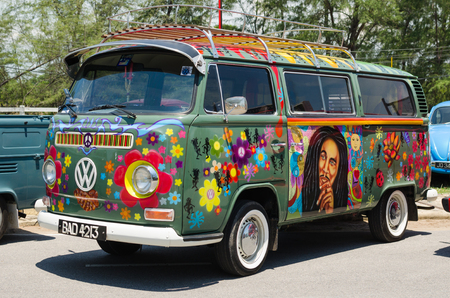 vw: SONGKHLA, THAILAND - May 02 :Hippie Volkswagen Kombi Meeting in VW SONGKHLA AIR COOLED GATHERING SEASON 3 at Singhanakhon beach on May 02,2015 in Songkhla, Thailand.