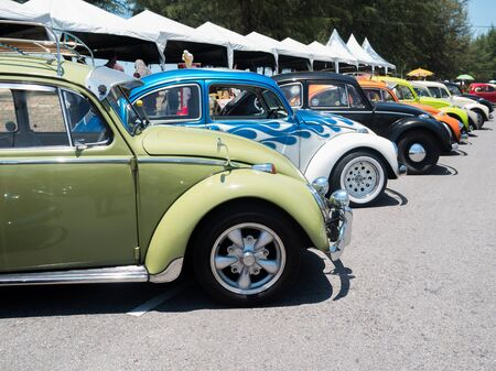 SONGKHLA, THAILAND - May 02 :Vintage Volkswagen  Meeting in VW SONGKHLA AIR COOLED GATHERING SEASON 3 at Singhanakhon beach on May 02,2015 in Songkhla, Thailand.