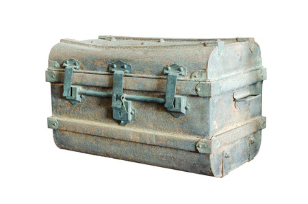 treasure trove: Ancient metal chest isolate on white background.