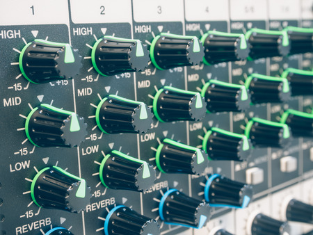 master volume: Control of sound levels  on a mixer. Stock Photo