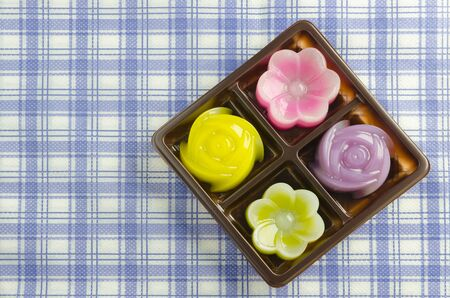 flower shape: Thai Sweet Food and Dessert Food, Freshly Homemade of Colorful Thai Layer Sweet Cakes  in flower shape