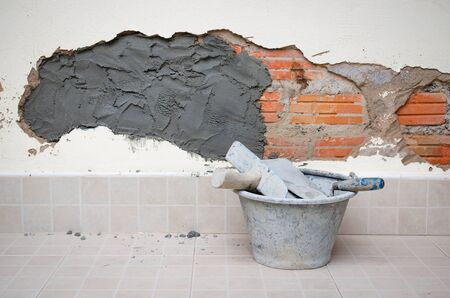 cracked wall: concept Repair or renovation cracked wall  home