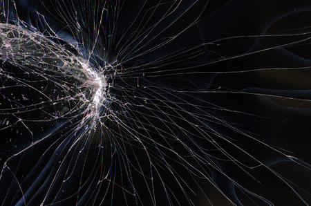 Cracked glass of broken lcd TV display screen