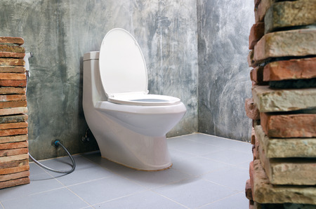 ware house: white flush toilet and brick decoration in loft style bathroom interior home Stock Photo