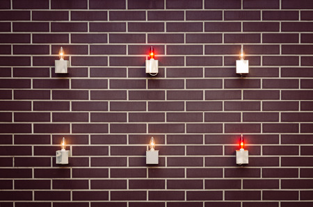 tendencies: Interior design details patterned brick with lamps and bulb lights, rustic decorative elements. Stock Photo