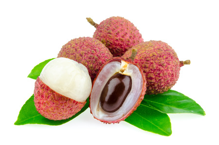 Fresh lychee with leaf isolated on white background.
