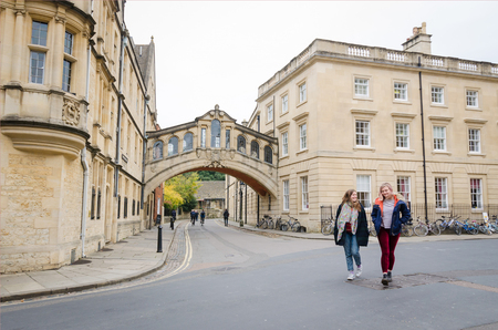 oxfordshire: OXFORD, ENGLAND - October 24, 2016: Bridge of Sighs at Hertford College, Oxford, England. Oxford is known as the home of the University of Oxford