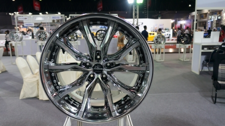 mag: BANGKOK,THAILAND - JUNE 29:Aluminium alloy wheel Show in bangkokinternationalautosalon at Impact muang thong thani, Bangkok, thailand. Bangkokinternationalautosalon is modify car show in thailand Editorial