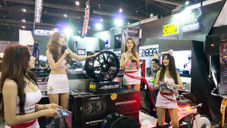 mag: BANGKOK,THAILAND - JUNE 29 Pretty mag wheel Show in bangkok international auto salon at Impact muang thong thani, Bangkok, thailand  Bangkokinternationalautosalon is modify car show in thailand