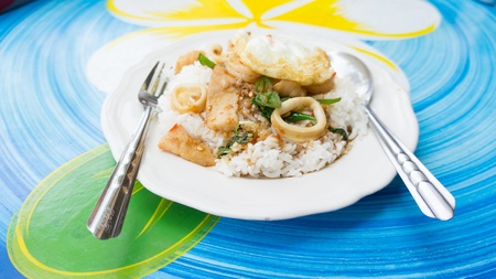 coulorful: fried rice with hot basil food of thailand