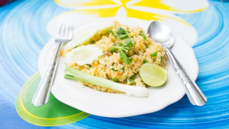 coulorful: fried rice and lemon food of thailand