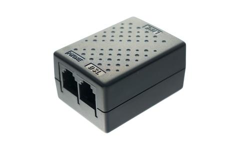 dsl: Black DSL splitter in white background
