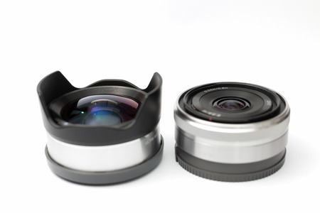 Twice small lens in white background photo