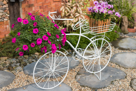 show garden: beauty bicycle show for take photo in garden