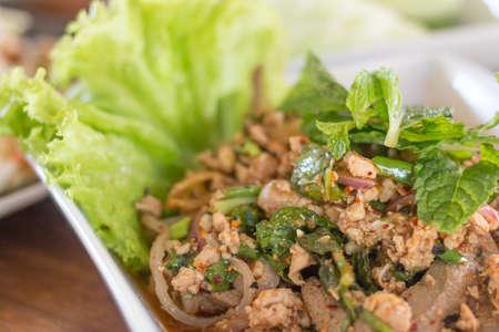 thai food: Minced pork spicy thai food Stock Photo