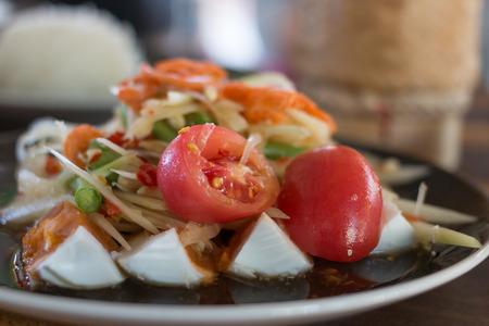 cow pea: thai spicy salad papaya with tomato