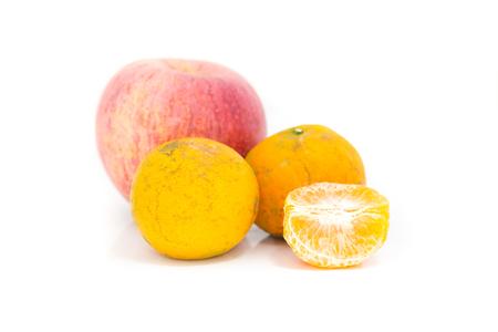 Apple and orange isolate on white background