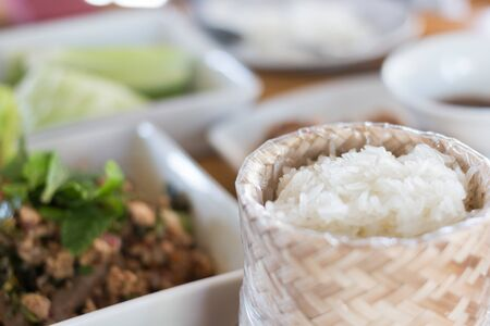 Thai country food sticky rice and minced pork
