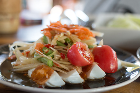 cow pea: Spicy papaya salad and with salted egg and tomato