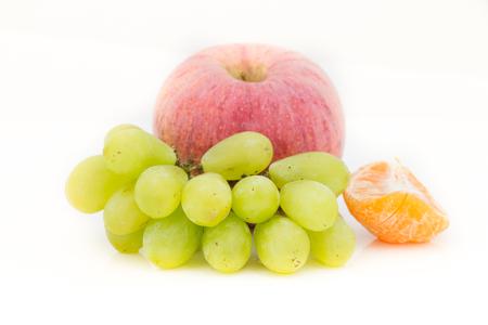 Many fruit on white background