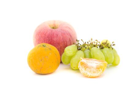 apple grape orange fruit on white background Stock Photo