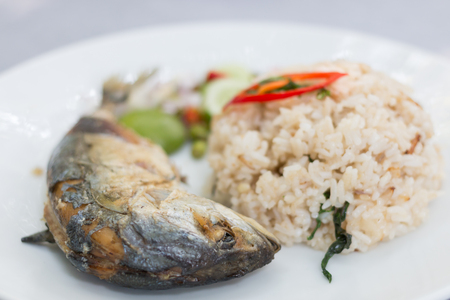 mackerel fish fried and rice spicy