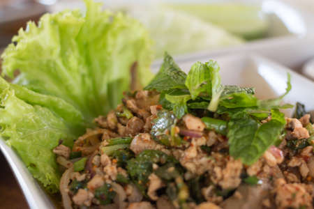 Spicy pork thai food with vegetable