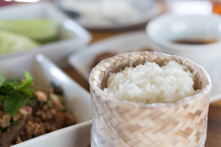 Sticky rice and thai spicy food minced pork Stock Photo