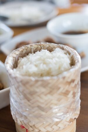 Sticky rice and thai spicy food
