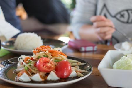 Thai restaurant with spicy papaya salad
