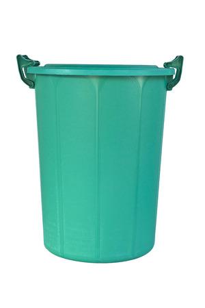 big bin: A big plastic green recycle bin isolated on white background.