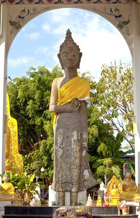 mahasarakham: Ancient Buddha image made of red sandstone at the province Maha Sarakham, Thailand