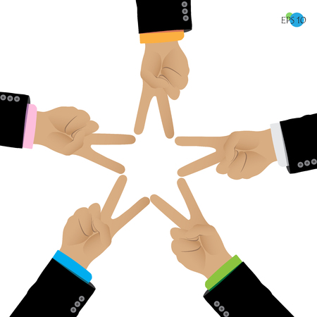 joined hands: fight, teamwork, businessman hand, victory, star