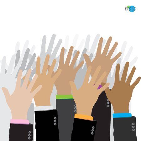 agree: businessman hand up, agree, vote