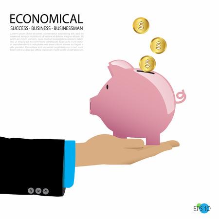 businessman carries piggy bank, economical business concept, vector illustration  イラスト・ベクター素材