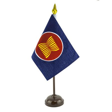 aec: a desktop flag pole of AEC symbol, ASEAN economic community