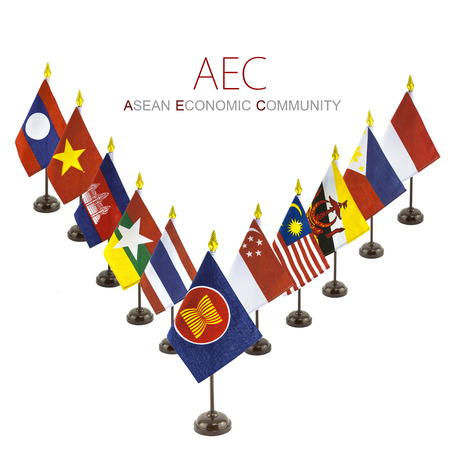 asean: abstract national flags for the AEC countries, asean economic community