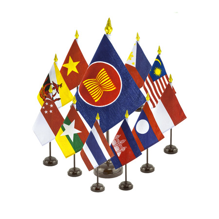 asean: group of national flags for the AEC countries, asean economic community Editorial