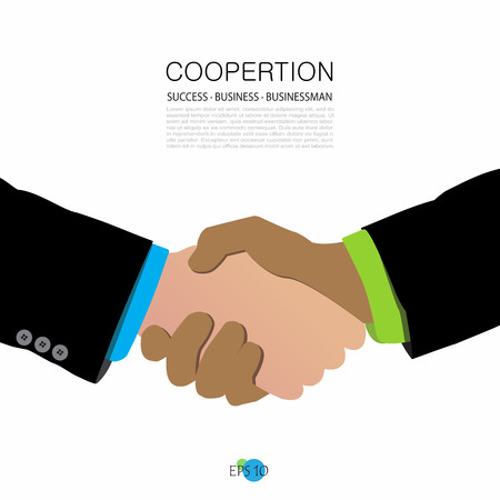 congratulate: two businessmen shake hands, agree, congratulate, trust, deal, teamwork, vector illustration