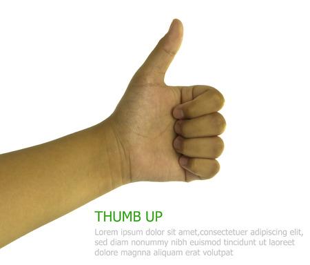 left handed: hand,Caucasian , thumb up, like, isolated white background Stock Photo