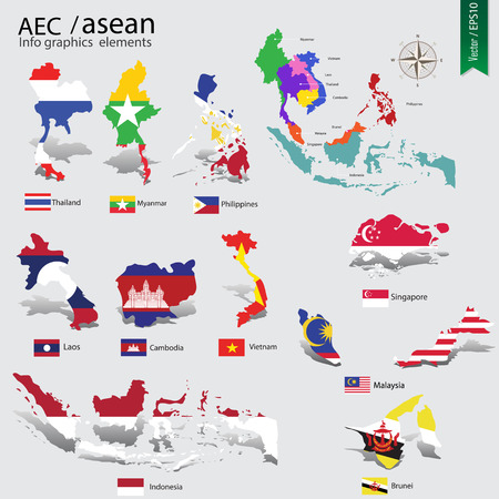 asean: abstract national flag on country map of AEC, ASEAN Economic Community, vector illustration