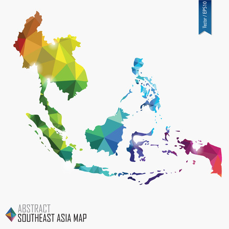 geolocation: colorful abstract Southeast Asia map, vector illustration, mesh, triangles, delaunay Illustration